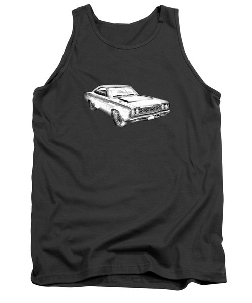1968 Plymouth Roadrunner Muscle Car Illustration Tank Top