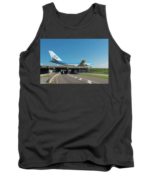 Airplane Over Highway Tank Top by Hans Engbers