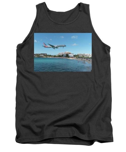 American Airlines Landing At St. Maarten Tank Top