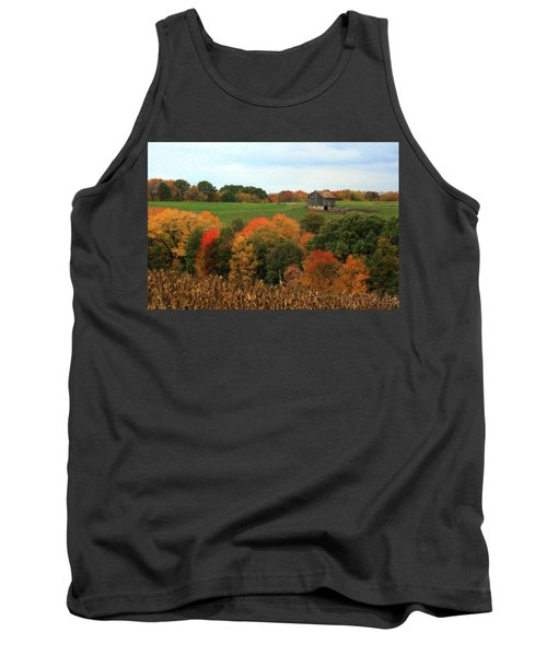 Tank Top featuring the photograph Barn On Autumn Hillside by Angela Rath