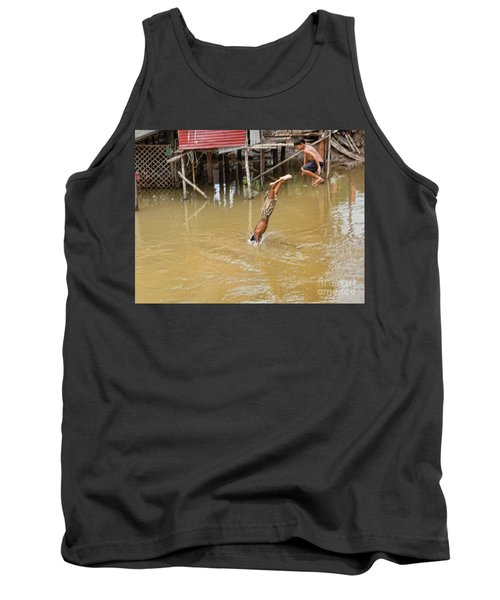 2 Cambodian Boys Dive Color Tank Top by Chuck Kuhn