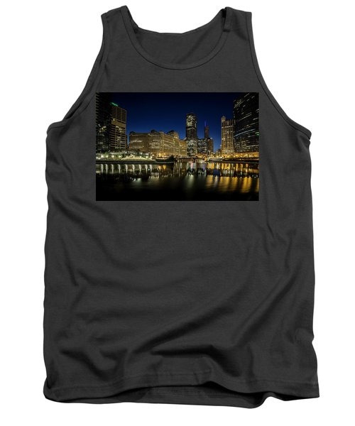 Chicago River And Skyline At Dawn Tank Top