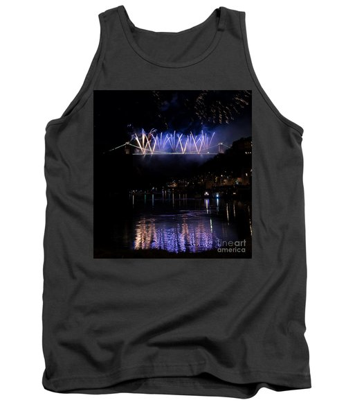Tank Top featuring the photograph Clifton Suspension Bridge Fireworks by Colin Rayner