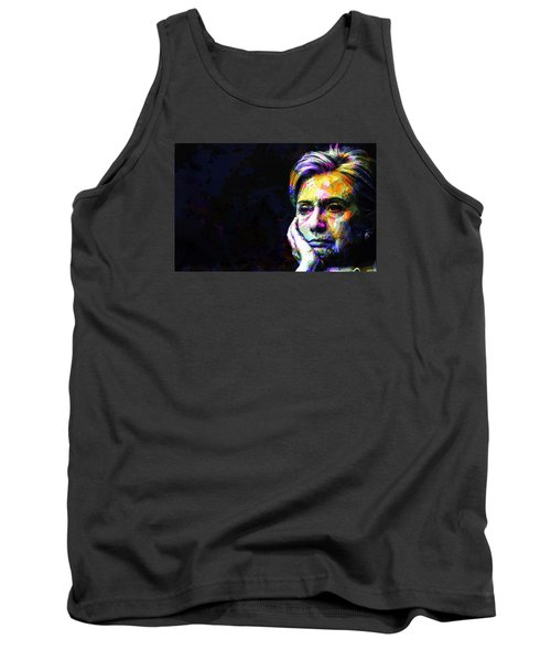 Tank Top featuring the mixed media Hillary Clinton by Svelby Art