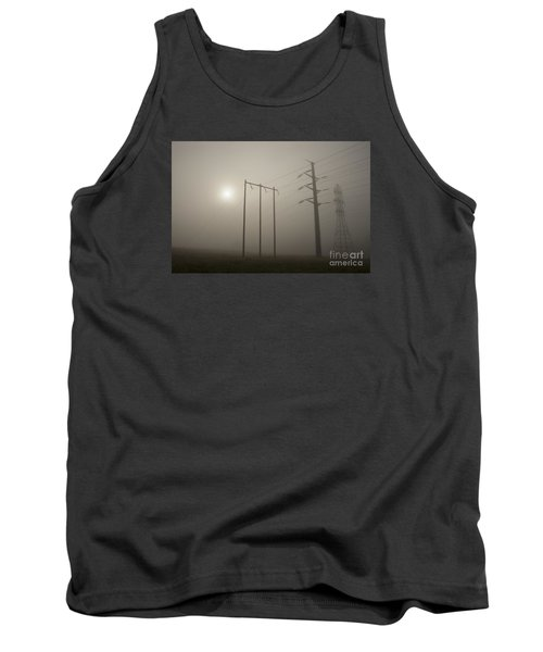 Large Transmission Towers In Fog Tank Top