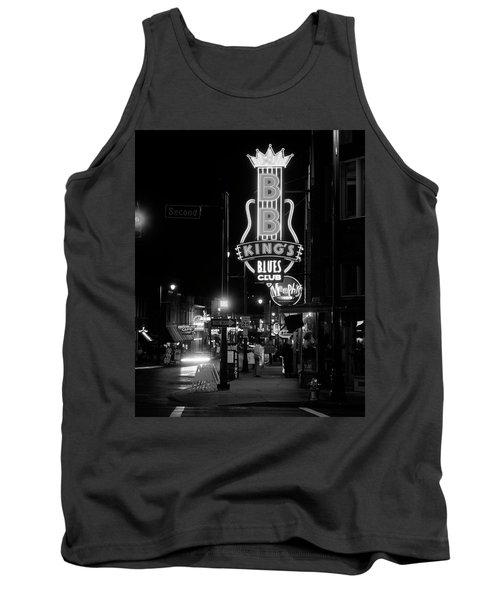 Neon Sign Lit Up At Night, B. B. Kings Tank Top