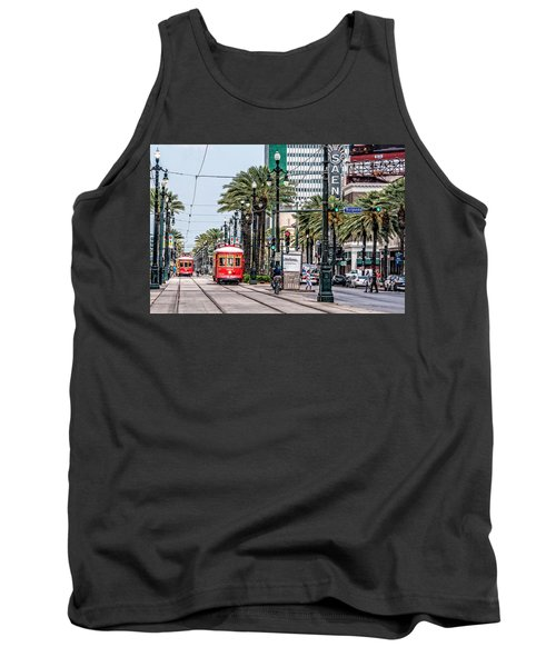 Tank Top featuring the photograph New Orleans Canal Street Streetcars by Andy Crawford
