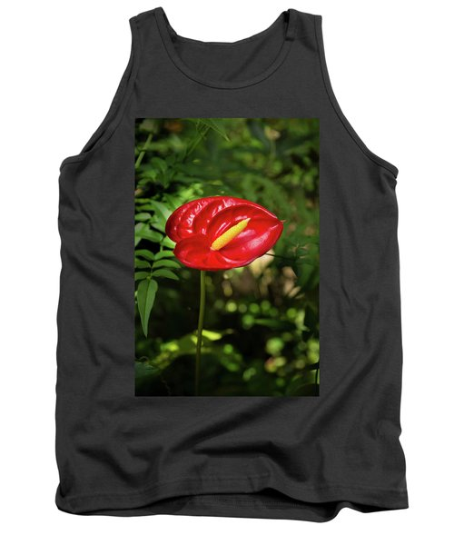 Red Anthurium Flower Tank Top by Hans Engbers