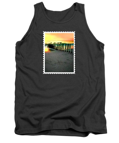 Sea Gulls On Pilings  At Sunset Tank Top by Elaine Plesser