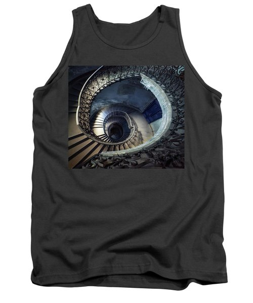 Tank Top featuring the photograph Spiral Staircase With Ornamented Handrail by Jaroslaw Blaminsky