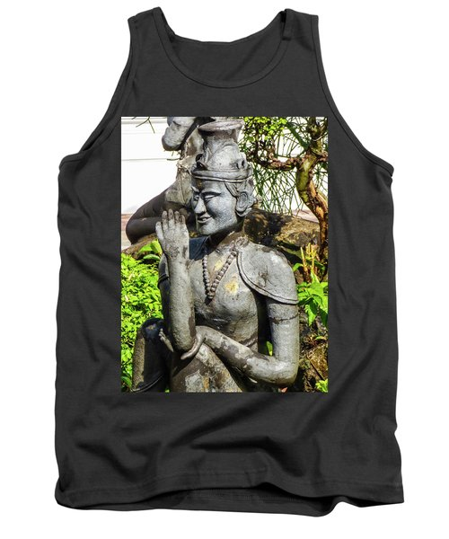 Stone Statue Depicting A Thai Yoga Pose At Wat Pho Temple Tank Top
