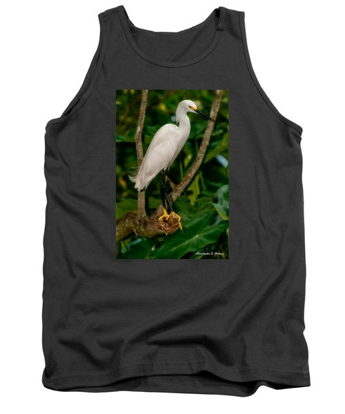 Tank Top featuring the photograph White Egret by Christopher Holmes