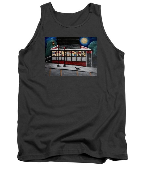 Tank Top featuring the painting 24 Hour Diner by Victoria Lakes