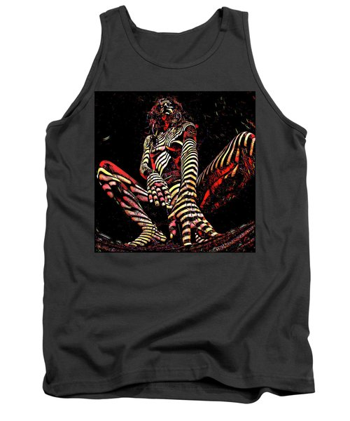 Tank Top featuring the digital art 2669s-ak Squatting Nude Rendered As Abstract Painting by Chris Maher
