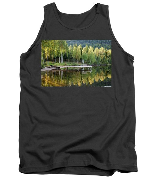 Birches And Reflection Tank Top by Aivar Mikko