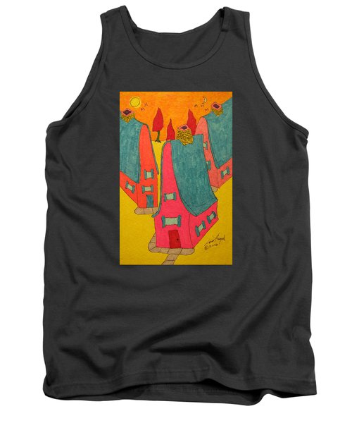 3 Homes With Three Red Trees Tank Top
