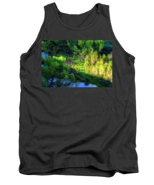 3 Horses Grazing On The Bank Of The Verde River Tank Top