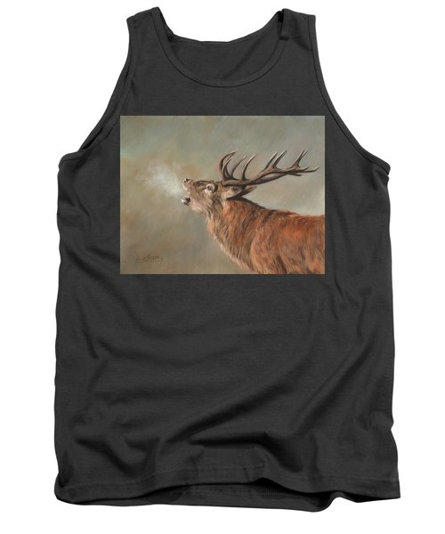 Tank Top featuring the painting Red Deer Stag by David Stribbling