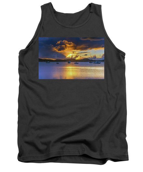 Sunrise Waterscape With Clouds And Boats Tank Top