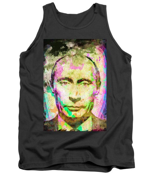 Tank Top featuring the mixed media Vladimir Putin by Svelby Art