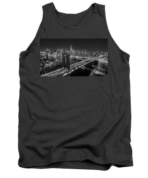 New York City, Manhattan Bridge At Night Tank Top by Petr Hejl