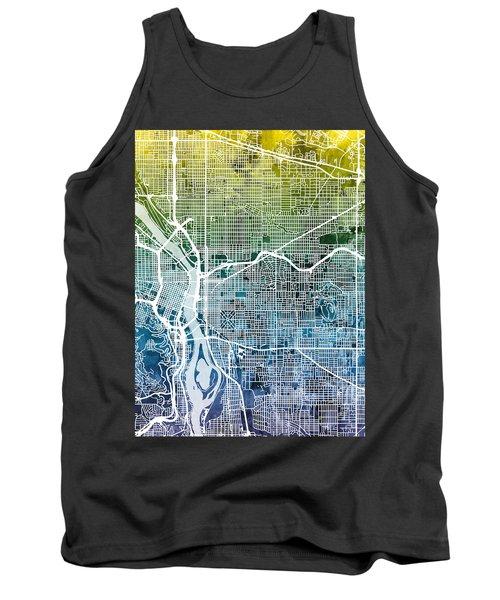 Tank Top featuring the digital art Portland Oregon City Map by Michael Tompsett
