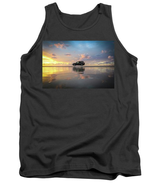 4wd Vehicle And Stunning Sunset Reflections On Beach Tank Top