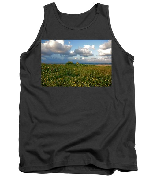 Tank Top featuring the photograph 8- Sunflowers In Paradise by Joseph Keane
