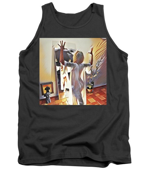 9906s-dm Woman Confronts Herself In Mirror Tank Top