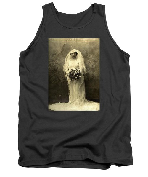 A Beautiful Vintage Photo Of Coloured Colored Lady In Her Wedding Dress Tank Top