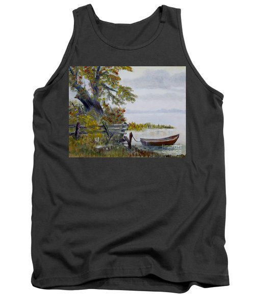 Tank Top featuring the painting A Boat Waiting by Marilyn  McNish