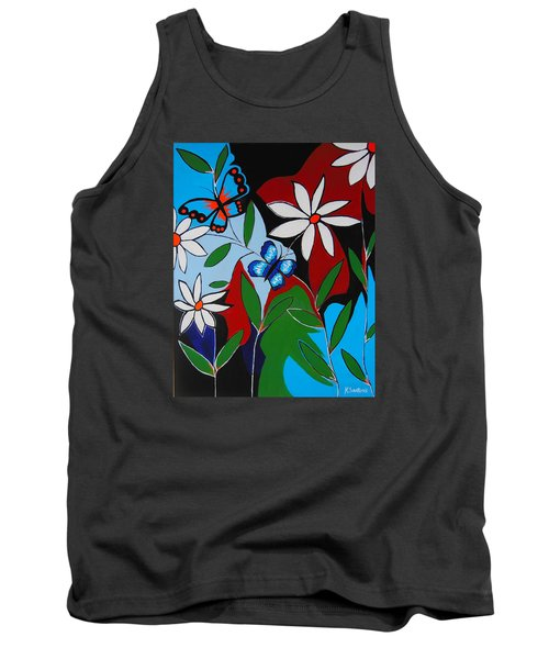 Tank Top featuring the painting A Butterflies Paradise by Kathleen Sartoris