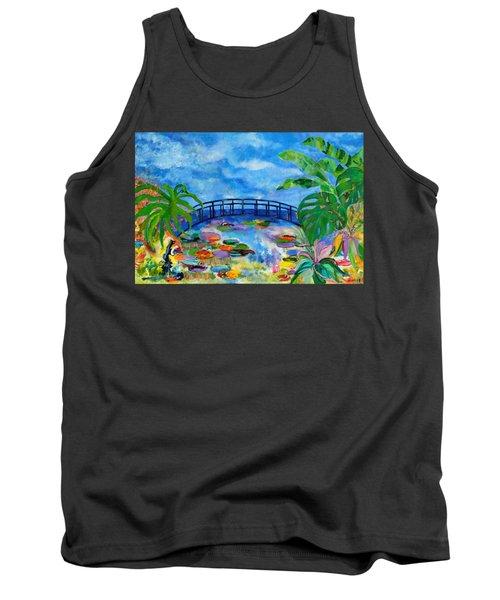 A Dinosaur In Monet's Garden Tank Top