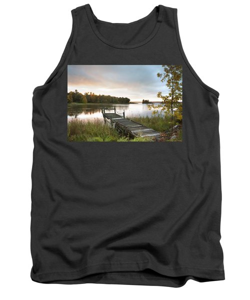 A Dock On A Lake At Sunrise Near Wawa Tank Top