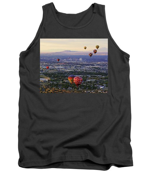 A Hot Air Ride To Albuquerque Cropped Tank Top by Daniel Woodrum