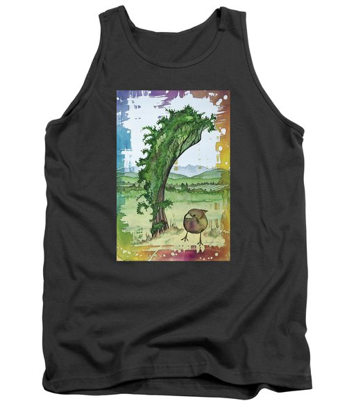 A Kale Leaf And A Little Bird Tank Top by Carolyn Doe