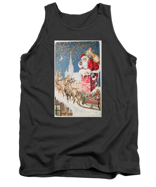 A Merry Christmas Vintage Greetings From Santa Claus And His Raindeer Tank Top