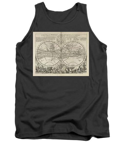 A New Map Of The Whole World With Trade Winds Herman Moll 1732 Tank Top