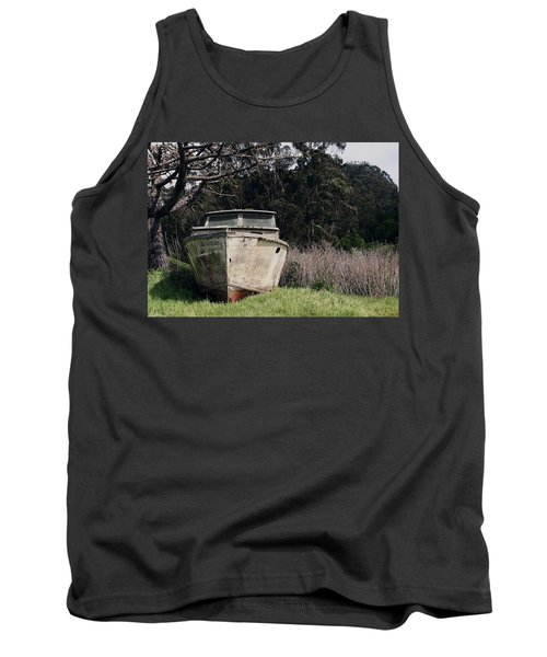 A Retired Old Fishing Boat On Dry Land In Bodega Bay Tank Top