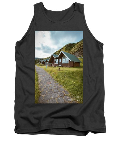 Tank Top featuring the photograph A Row Of Cabins In Iceland by Edward Fielding