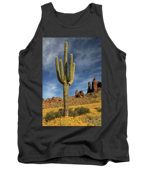 Tank Top featuring the photograph A Saguaro In Spring by James Eddy
