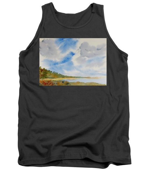 Tank Top featuring the painting A Secluded Inlet Beneath Billowing Clouds by Dorothy Darden