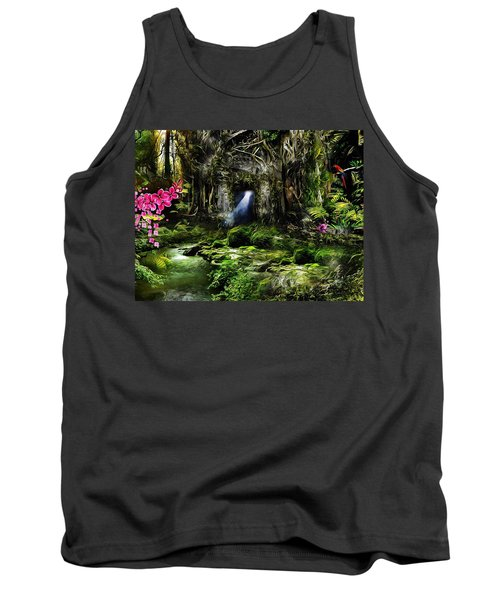 Tank Top featuring the mixed media A Secret Place by Gabriella Weninger - David