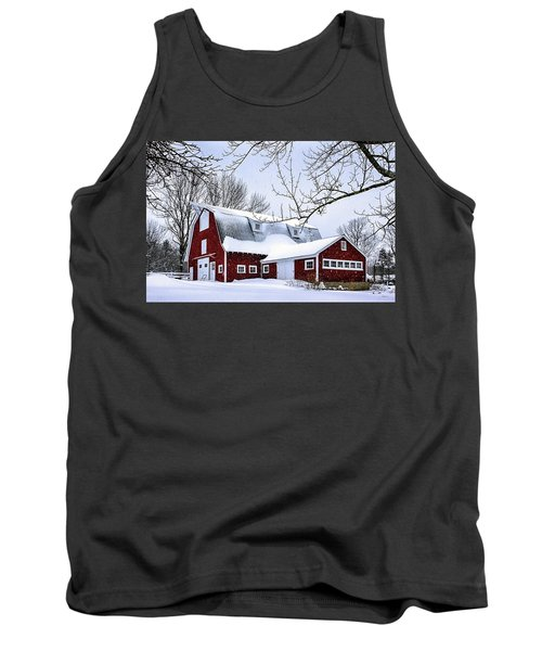A Snowy Day At Grey Ledge Farm Tank Top by Betty Denise