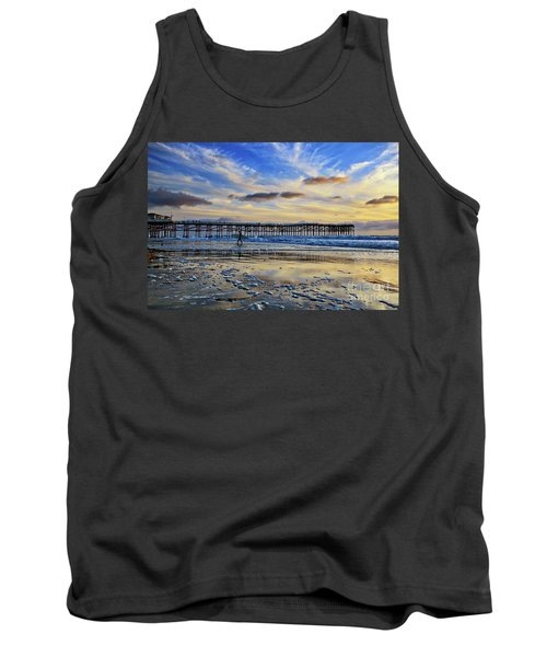 A Surfer Heads Home Under A Cloudy Sunset At Crystal Pier Tank Top