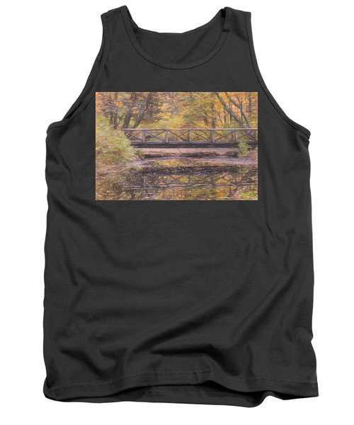 A Walking Bridge Reflection On Peaceful Flowing Water. Tank Top