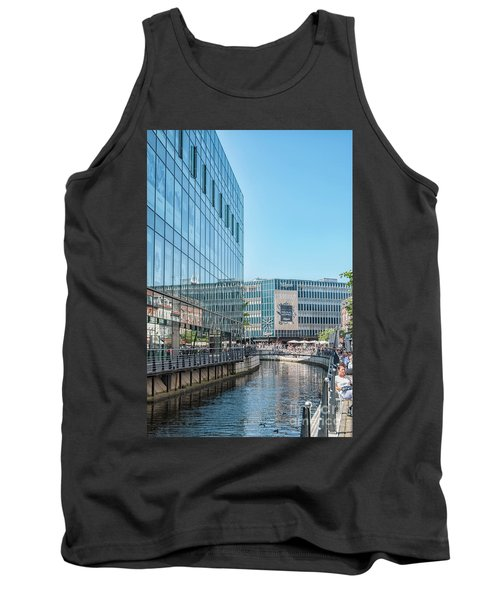 Tank Top featuring the photograph Aarhus Lunchtime Canal Scene by Antony McAulay