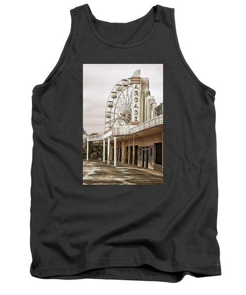 Abandoned Arcade And Ferris Wheel Tank Top by Andy Crawford