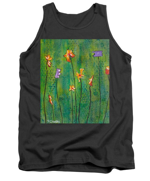 Abstract Flowers Orange, Purple Tank Top by Patricia Cleasby