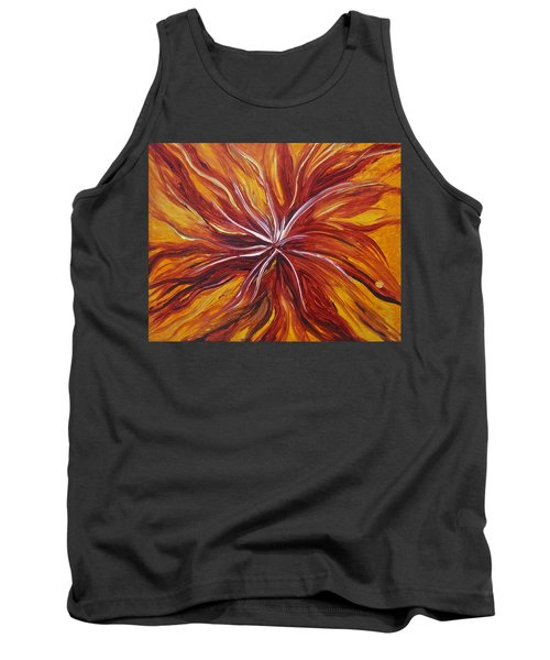 Abstract Orange Flower Tank Top